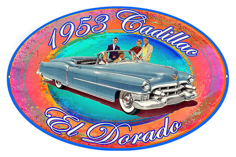 1953 Cadillac El Dorado Reproduction By Artist Phil Hamilton 11″x18″ Oval Metal Sign