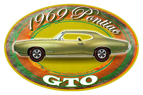 1969 Pontiac GTO Reproduction By Artist Phil Hamilton 11″x18″ Oval Metal Sign