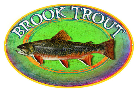 Brook Trout By Artist Phil Hamilton Reproduction 11″x18″ Metal Sign