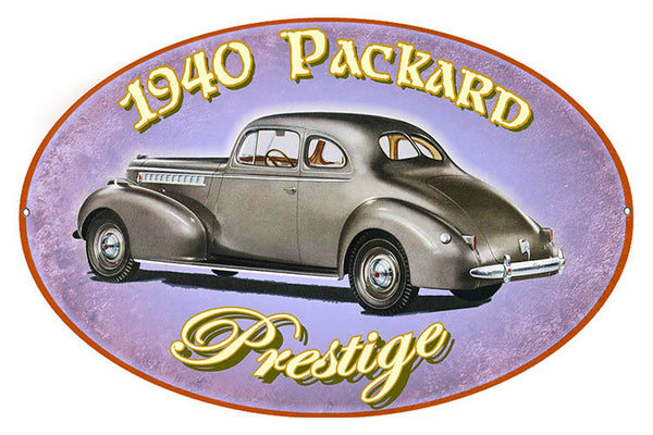 1940 Packard Prestige Reproduction By Artist Phil Hamilton 11″x18″ Metal Sign