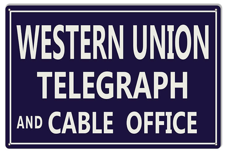 Reproduction Western Union Telegraph Nostalgic Metal  Sign 12″x18″