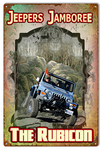 Jeep Rubicon Reproduction By Artist Phil Hamilton 12″x18″ Metal Sign
