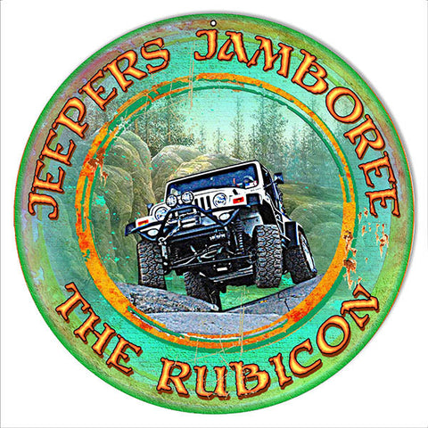 Round Jeepers Jamboree By Artist Phil Hamilton Reproduction 14x14 Metal Sign