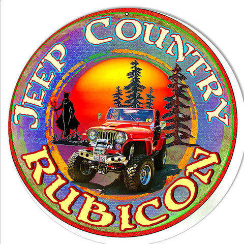 Rubicon Jeep Country Reproduction By Artist Phil Hamilton 14″x14″ Sign Metal