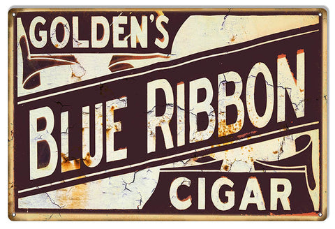 Goldens Blue Ribbon Reproduction Cigar Metal  Sign 12″x18″