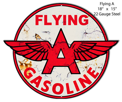 Distressed Flying A Gasoline Laser Cut Out Metal  Sign 15″x18″