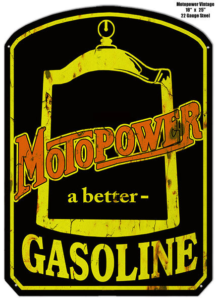 Aged Looking Motopower Gasoline Laser Cut Out Metal  Sign 18″x25.5″
