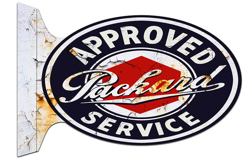 Approved Packard Distressed Flange Reproduction Metal  Sign 12″x18″ Oval