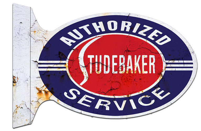 Studebaker Service Aged Reproduction Flange Metal  Sign 12″x18″ Oval