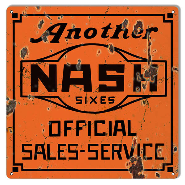 large Distressed Another Nash Reproduction Gas Station Metal  Sign 16″x16″