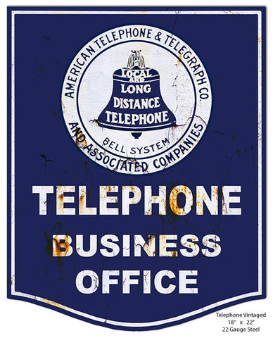 Nostalgic Telephone Laser Cut Out Reproduction Metal  Sign 18″x22″