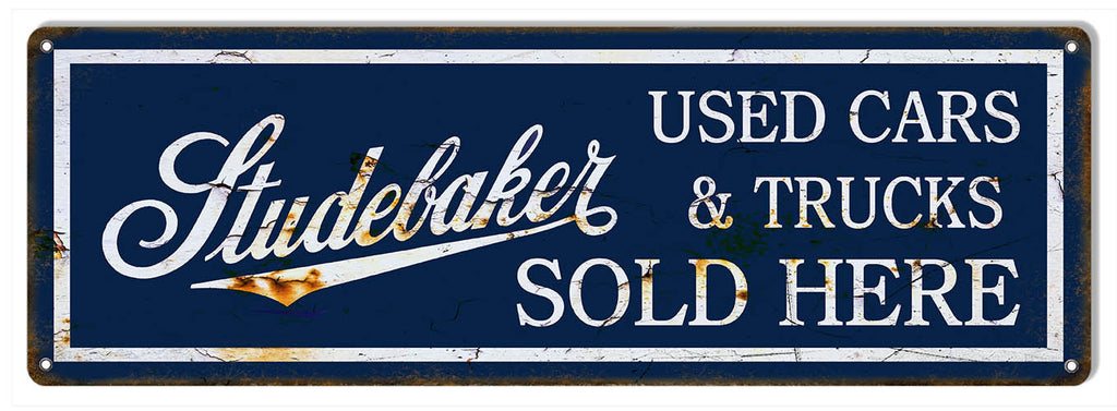 Sold Here Studebaker Large Reproduction Garage Shop Metal  Sign 8″x24″