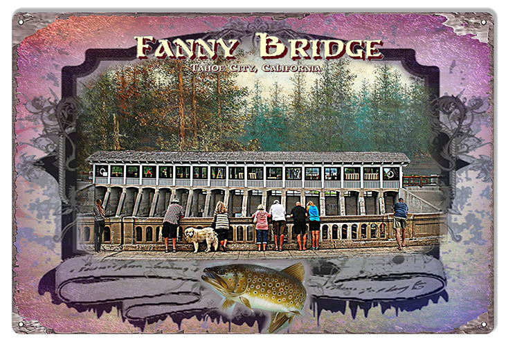Fanny Bridge Tahoe City By Artist Phil Hamilton 12″x18″