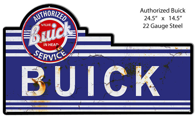 Aged Buick Laser Cut Out Reproduction Metal  Sign 14.5″x24.5″