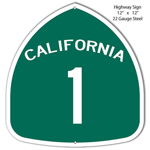 California Highway 1 Laser Cut Out Reproduction Metal  Sign 12″x12″