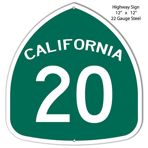 20 California Highway Laser Cut Out Reproduction Metal  Sign 12″x12″