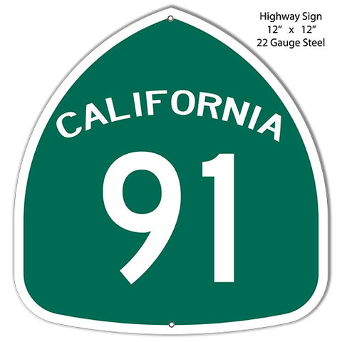 91 California Laser Cut Out Reproduction Metal  Sign 12″x12″