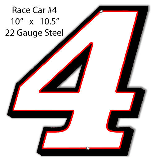 Race Car # 4 Laser Cut Out Reproduction Metal  Sign 10″x10.5″