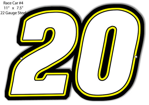 #20 Race Car Laser Cut Out Reproduction Metal  Sign 7.5″x11″