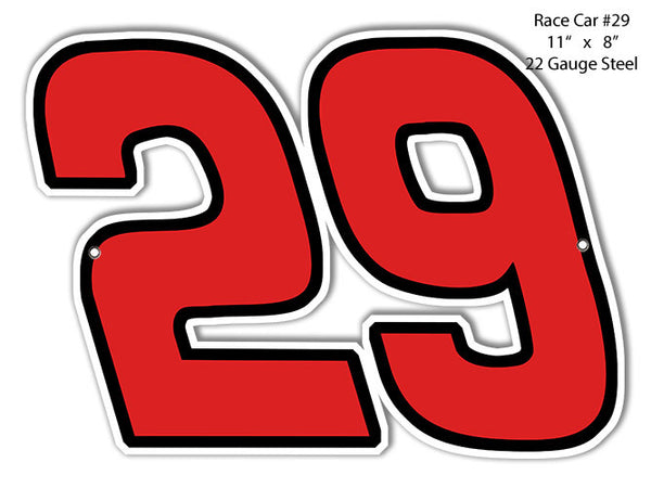 29 Race Car Laser Cut Out Reproduction Metal  Sign 8″x11″