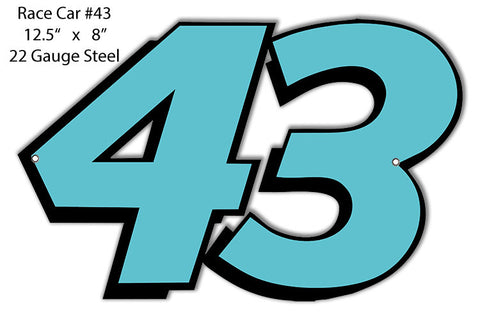 43 Race Car Laser Cut Out Reproduction Metal  Sign 8″x12.5″