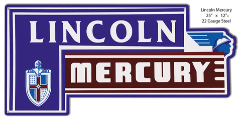 Lincoln Mercury Laser Cut Out Of Metal Sign 12″x25″