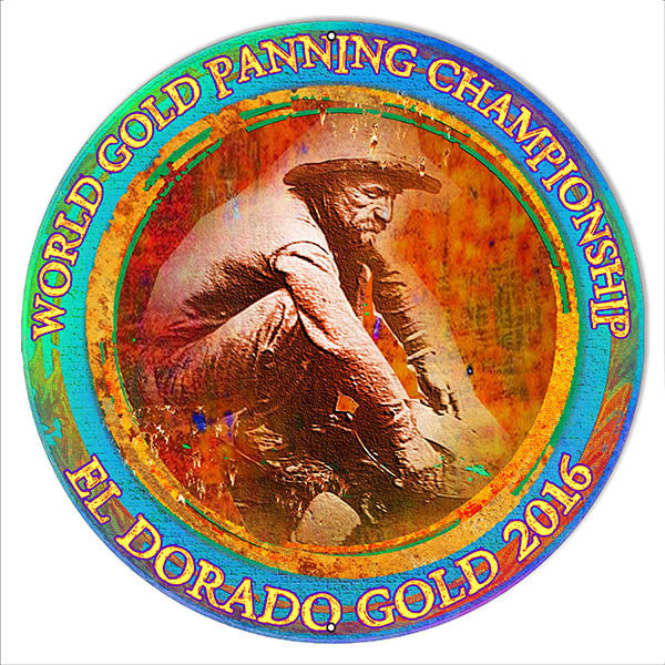 2016 World Gold Panning Metal Sign By Artist Phil Hamilton 14″x14″