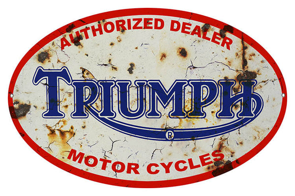 Aged Triumph Dealer Oval Reproduction Metal Sign 11″x18″