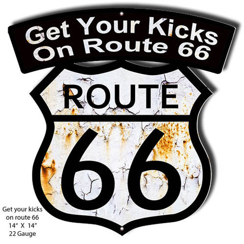 Get You Kicks Route 66 Laser Cut Out Reproduction Sign 14″x14″