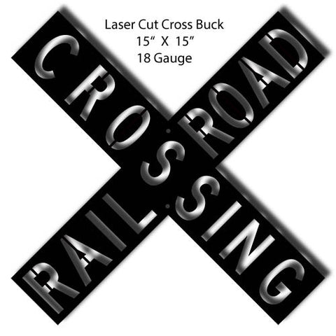 Crossbuck Black Laser Cut Out 15″x15″