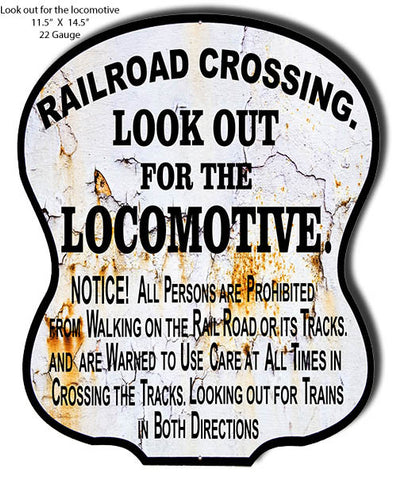Railroad Crossing Reproduction Look Out Sign 11.5″x14.5″