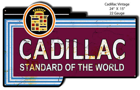 Distressed Cadillac Reproduction Laser Cut Out 15″x24″