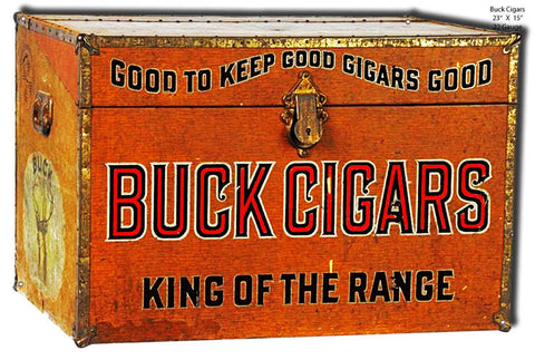 Laser Cut Out Buck Cigars Reproduction Sign 15″x23″