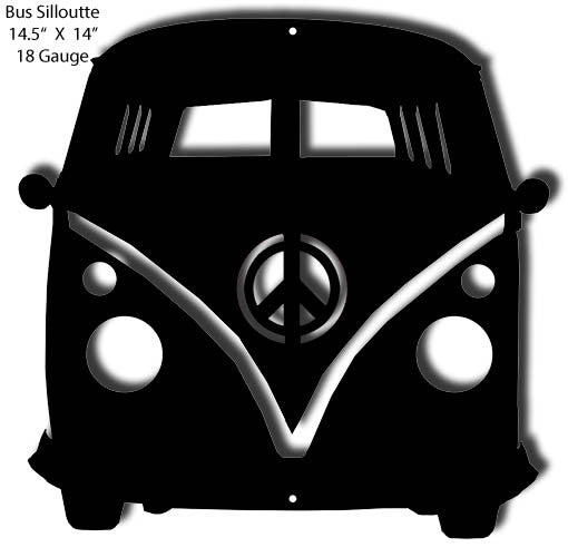 Bus VW Silhouette Laser Cut Out 14″x14.5″
