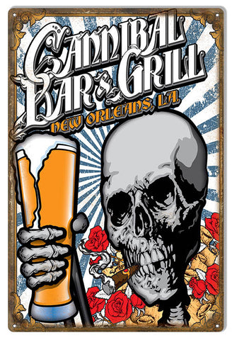 Cannibal Bar And Grill Sign By Artist Bernard Oliver 12″x18″