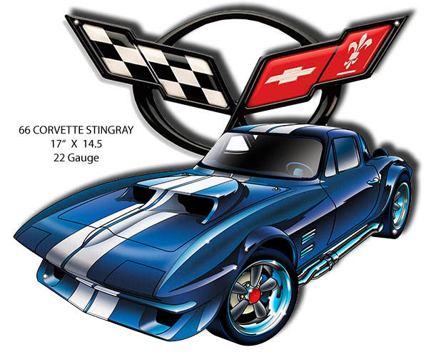 66 Corvette Stingray Laser Cut Out By Artist Bernard Oliver 14.5″x17″