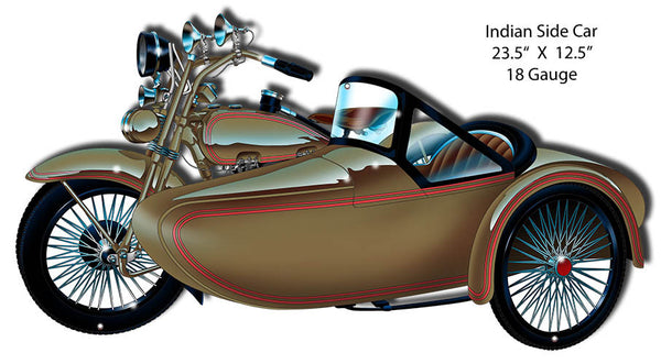 Indian Side Car Laser Cut Out By Artist Bernard Oliver 12.5″x23.5″