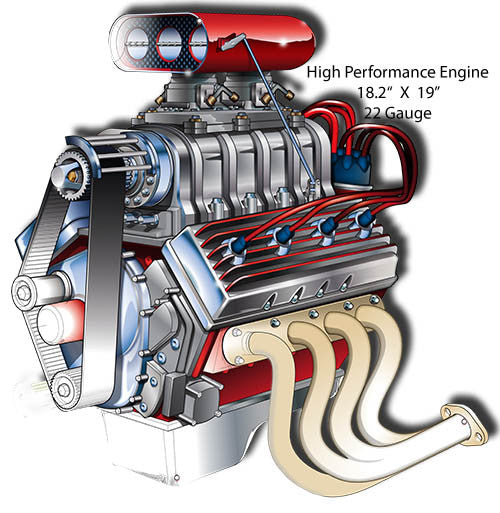 Engine High Performance Laser Cut Out By Artist Bernard Oliver 18.5″x19″
