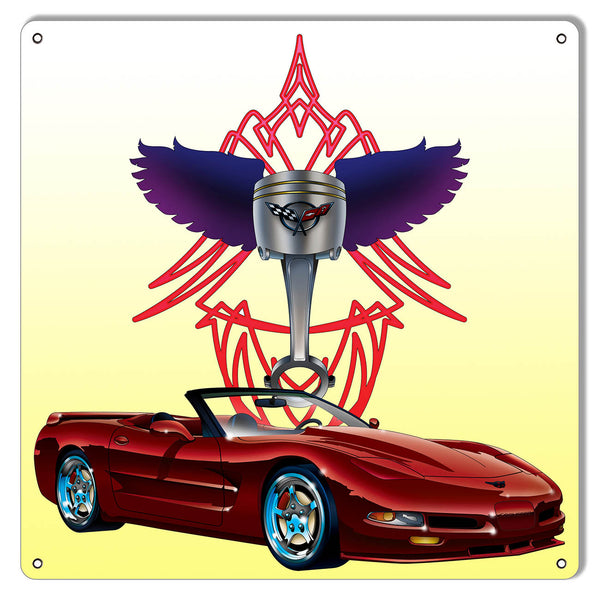 "Corvette By Artist Bernard Oliver Garage Shop Sign 12""x12"""