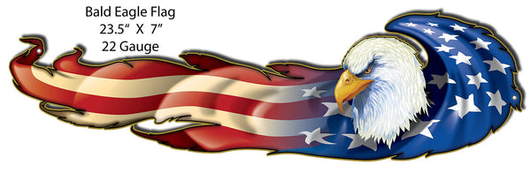 Bald Eagle Flag By Artist Bernard Oliver 7″x23.5″