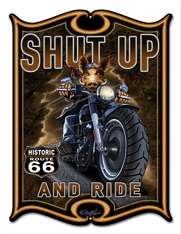 "Route 66 Motorcycle Hog Laser Cut Out By Steve McDonald Sign 14""x16"""