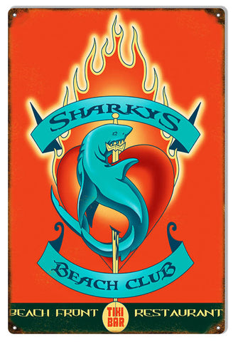 Sharkys Beach Restaurant By Artist Bernard Oliver 12″x18″