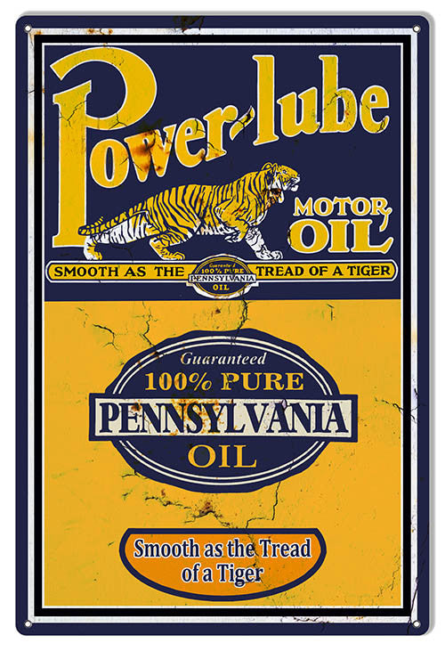 Power-Lube Reproduction Motor Oil Sign 12″x18″