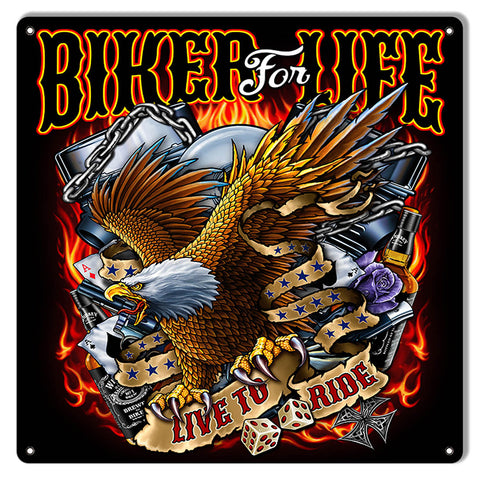 Biker For Life Eagle By Artist Bernard Oliver 12″x12″
