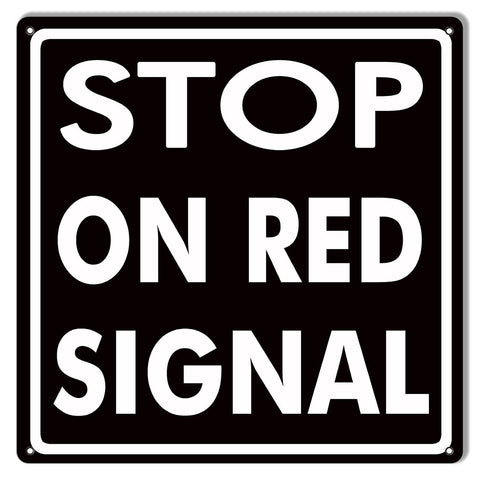Black Stop On Red Signal Gas Station Sign 12″x12″