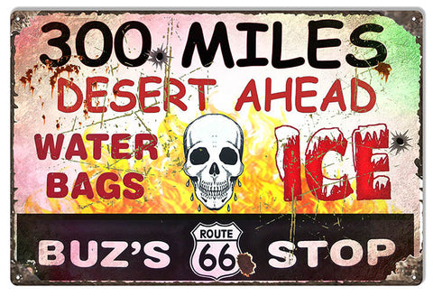 Buzs Route 66 Stop Garage Shop Sign 12″x18″