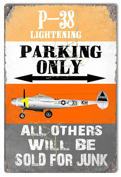 P-38 Lightening Parking Only Aviation Sign 12″x18″