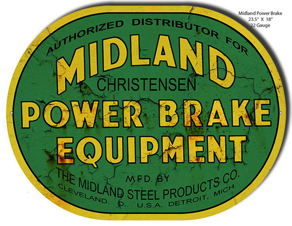 Midland Power Brake Laser Cut Out Reproduction Sign 18″x23.5″