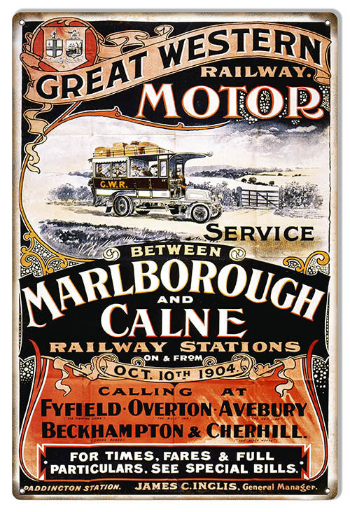 Great Western Railway Motor Reproduction Railroad Sign 12″x18″