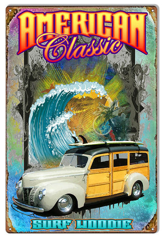 Surf Woodie Classic By Artist Phil Hamilton 12″x18″